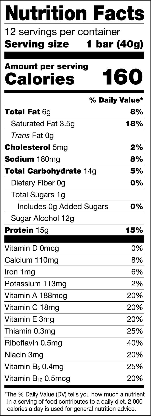 Chocolate Peanut Caramel Nutriotional Values