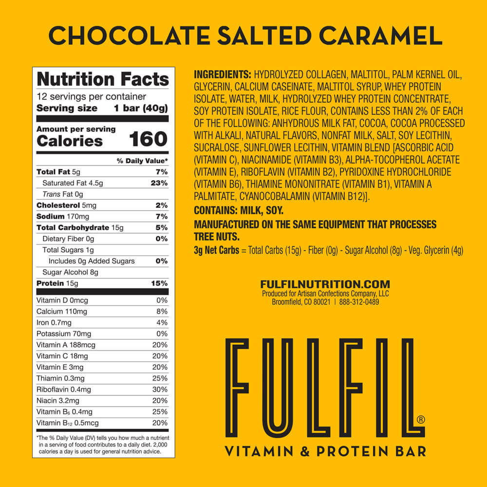 FULFIL Chocolate Salted Caramel Vitamin & Protein Bar Nutrition Facts