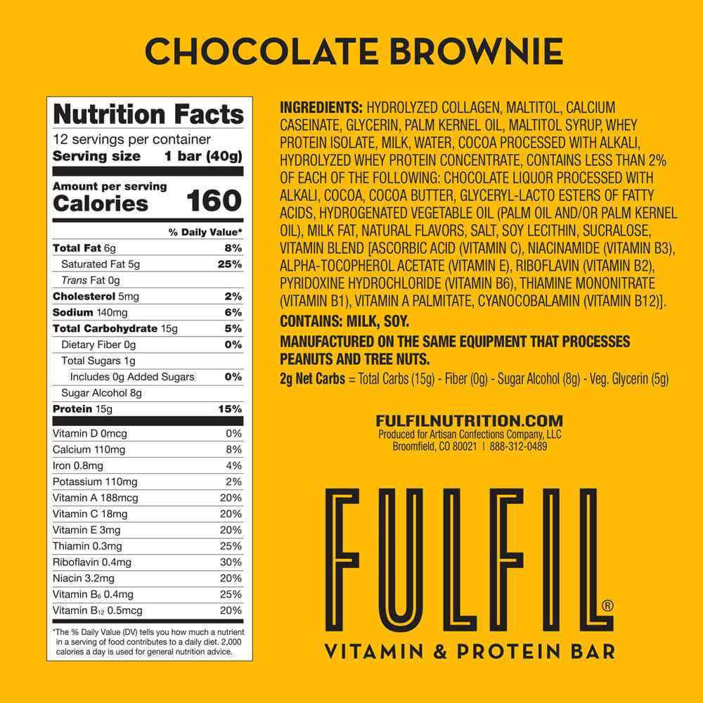 FULFIL Chocolate Brownie Vitamin & Protein Bar Nutrition Facts