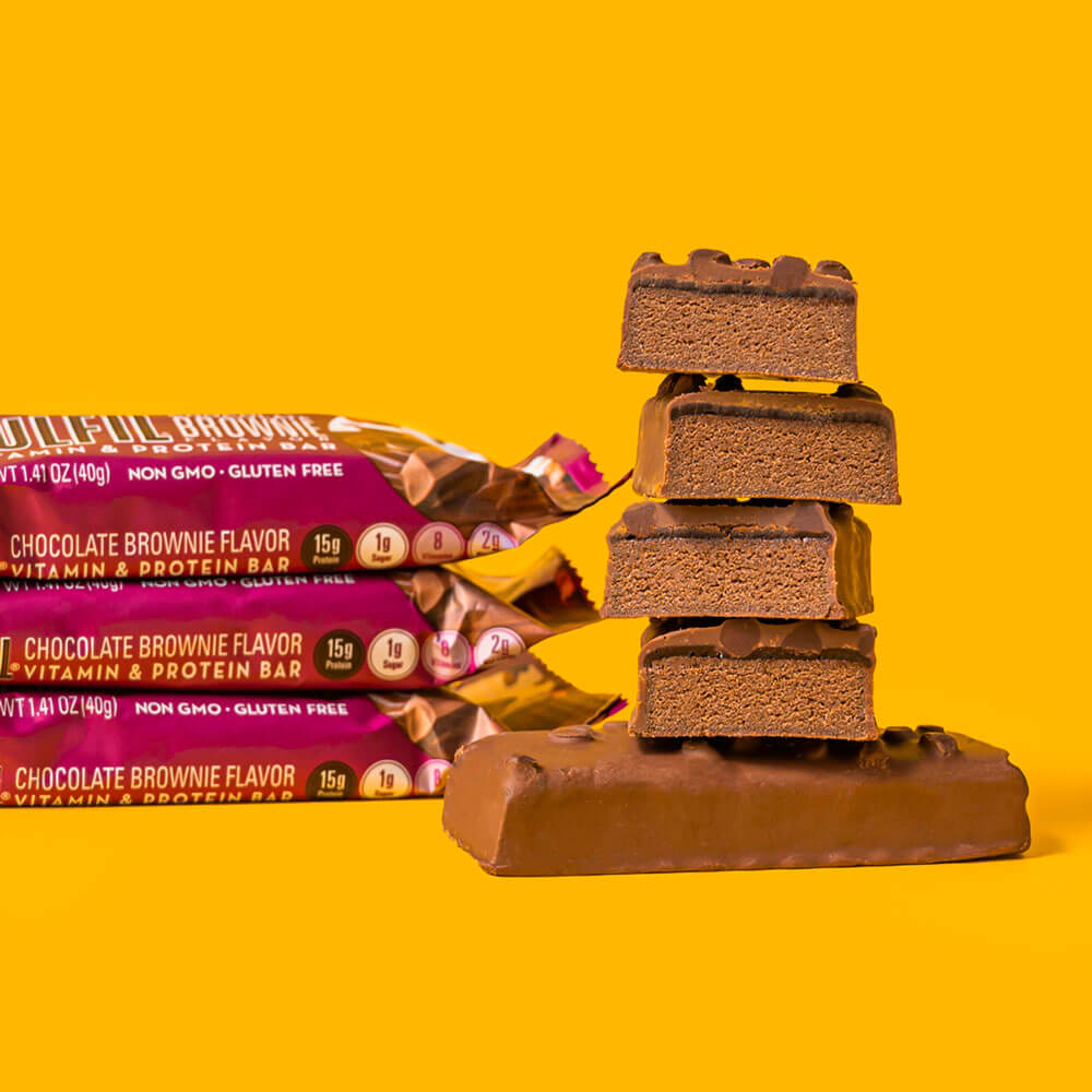Chocolate Brownie FULFIL Nutrition Bars Stacked